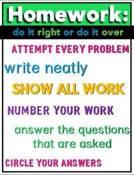 Homework Poster for Middle School or High School Math Classroom {FREE}