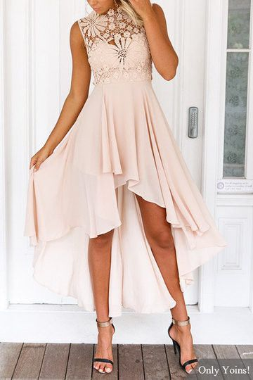 Apricot Lace Embroidery Sleeveless High Waist Irregular Hem Dress