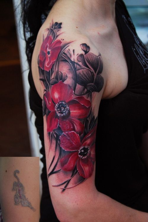 exotic red roses flower sleeve tattoos for women Flower Sleeve Tattoos Designs