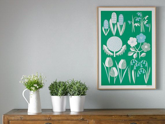 Spring is the first design in the new collection of seasonal inspired, hand pulled, screen printed wall art from Bobbie Print.  Stylised Spring