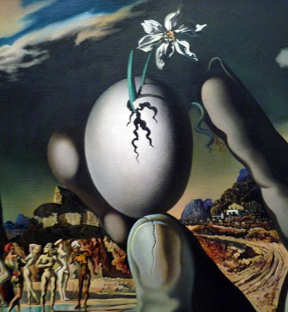 Salvador Dalí, Metamorphosis of Narcissus with detail of flower and egg #dali #paintings #art