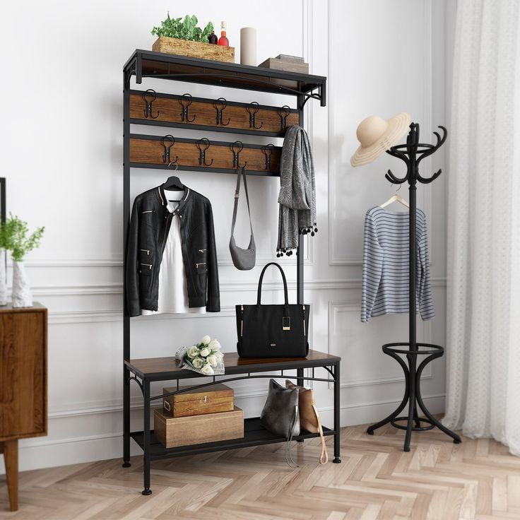 Scandinavian Entryway: Vintage Metal And Wood Hall Tree With Storage Bench Shoe