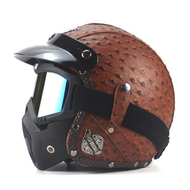 Motorcycle Black Half Face Helmet Glasses Goggles Driving for Harley Cruiser