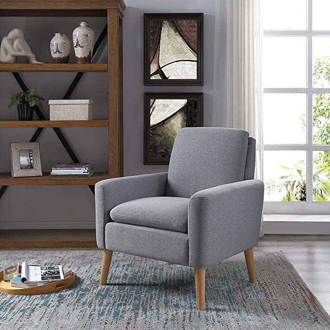 Lohoms Modern Accent Fabric Chair Single Sofa Comfy Upholstered Arm Chair Living Room Furniture Grey Arm Chairs Living Room Single Sofa Chair Game Room Chairs