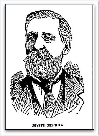 """Picture of Joseph Merrick from his obituary, published in the Springfield Republican newspaper (Springfield, Massachusetts), 23 February 1898. Read more on the GenealogyBank blog: """"Looking for His Obituary – There Was His Face Looking Back at Me."""" http://blog.genealogybank.com/looking-for-his-obituary-there-was-his-face-looking-back-at-me.html"""