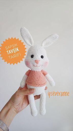 Ücretsiz Şapşik tavşik tarifi @ipseveranne #crochetrabbit #rabbit#freecrochetpattern #ucretsiztarif #crochetanimals