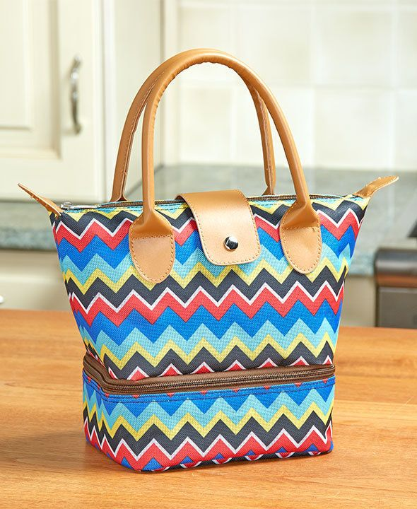 WOMEN'S STYLISH CHEVRON INSULATED LUNCH TOTE BAG LUNCH BOX TWO ZIP COMPARTMENTS #TBD