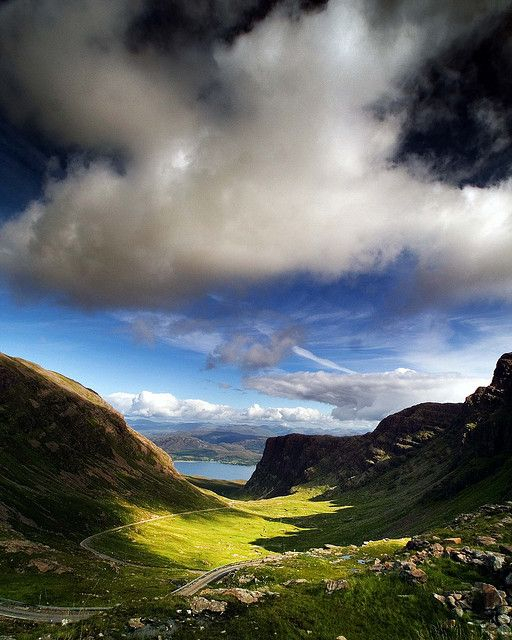 Bealach na Bà is a historic pass through the mountains of the Applecross peninsula, in Wester Ross in the Scottish Highlands—and the name of a famous twisting, single-track mountain road through the pass and mountains. Wikipedia