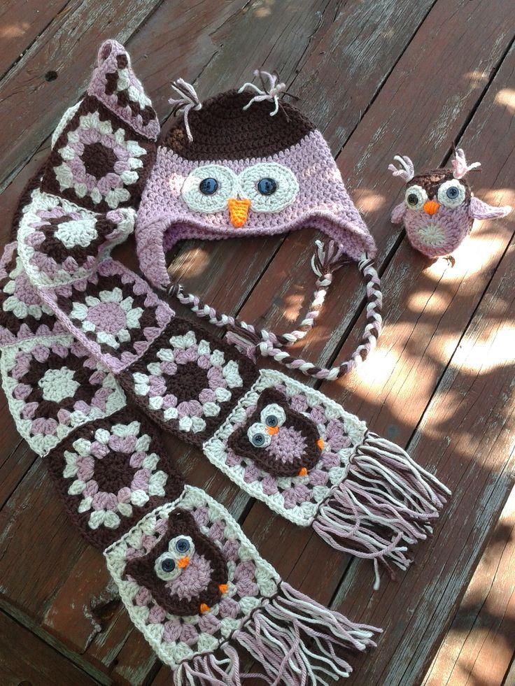 Owl Beanie Free Pattern; http://www.repeatcrafterme.com/2012/09/crochet-owl-hat-pattern-in-newborn.html Scarf based on; http://www.repeatcrafterme.com/2012/11/owl-granny-square-crochet-pattern.html Mini Owl; http://bunnymummy-jacquie.blogspot.co.uk/2013/01/easy-crochet-owl-tutorial.html
