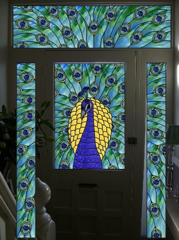 Peacock front door stained glass peacocks pinterest for Art glass windows and doors