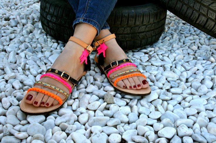 Free shipping Greek decorated pom pom  leather sandal.