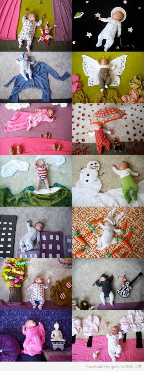I love this idea!!    Sleeping Baby- I did a calender of jaxon his first year. we took a pic each month, and if a holiday occured it was themed. This is a must for the new baby :)