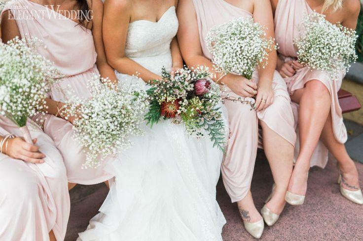 Baby's breath wedding bouquet, bridal bouquet, bridesmaids dresses, bridesmaid bouquets, flowers, wedding ideas, wedding inspiration SOFT AND SPARKLY AUSTRALIAN WEDDING www.elegantwedding.ca