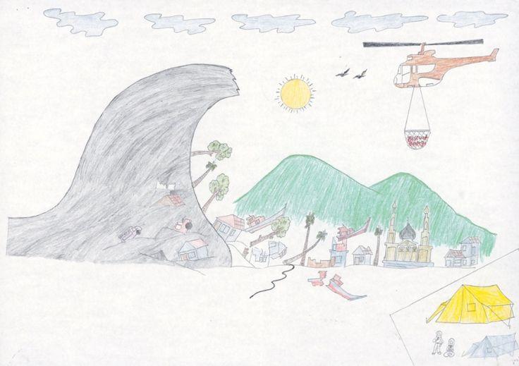 how to draw a tsunami step by step
