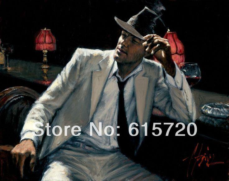 Фабиан Перес Оригинальная картина маслом (Человек в Белом Костюме V) Арт-печать репродукций на холсте, стены, декор