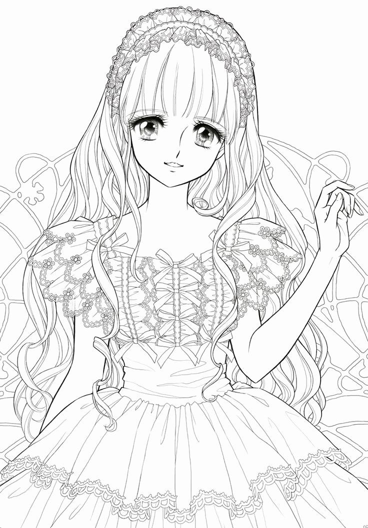 Anime Coloring Page Kawaii Beautiful Cute Anime Coloring Pages In