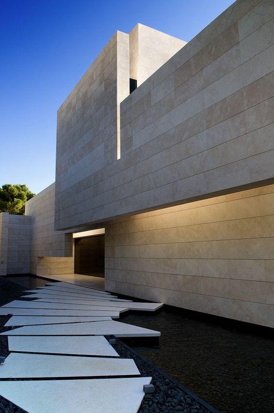 Architecture Single family property in Marbella by A-cero. All-stone facade.