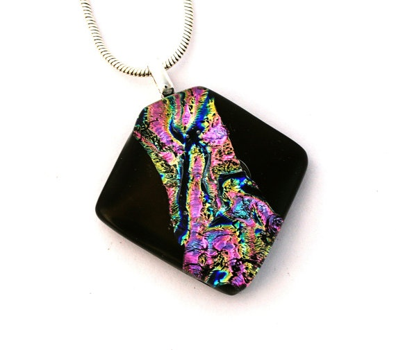 P942 Dichroic Fused Glass Jewelry Fused Dichroic by SassySpark, $24.00