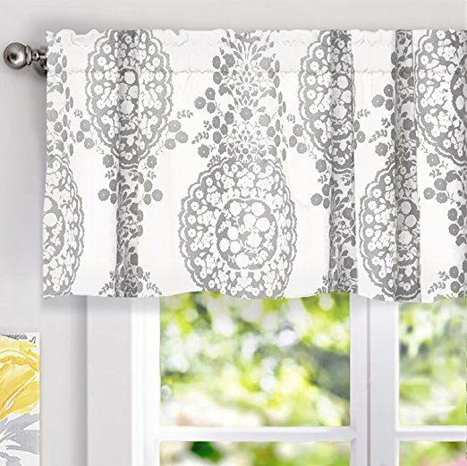 DriftAway Samantha Window Treatment Valance Floral Damask Medallion Pattern Rod Pocket 52