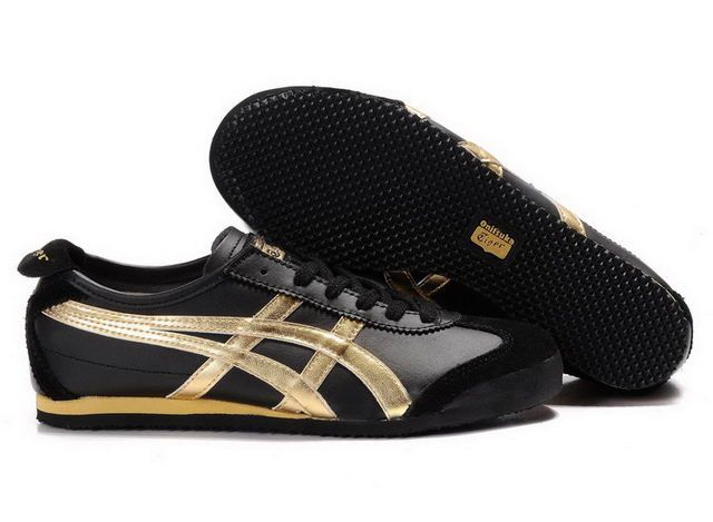 """Onitsuka Tiger Mexico 66 BLACK GOLD by Asics: ASICS is an acronym for """"Anima Sana In Corpore Sano"""" - which translates to """"a sound mind in a healthy body"""". Available in unisex sizes. $64.99 #Asics #Shoes #Onisuka_Tiger"""