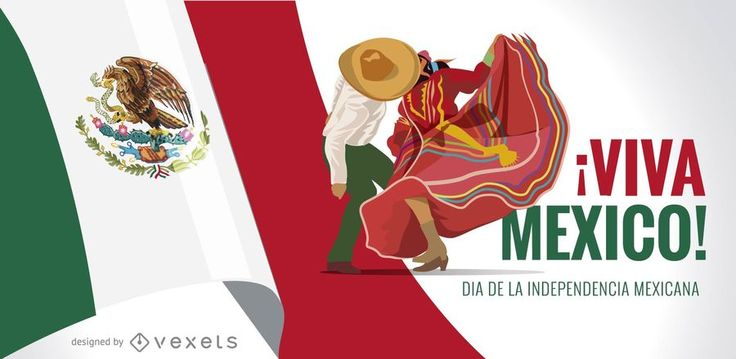 Mexico Independence Day design featuring flags and illustrated dancers. It also says Viva Mexico! Dia de la Independencia Mexicana.