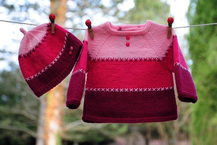 layette ensemble naissance brassière et bonnet tricotés main : Mode Bébé par com3pom