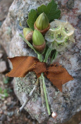Groomsmen option #2: acorn boutonniere with scabiosa pod *with  twine wrap