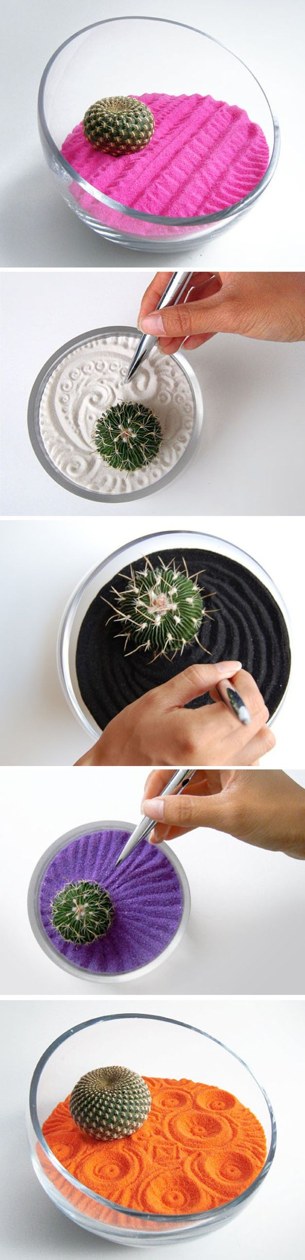 Colorful Cacti Zen Gardens by Wendiland... Cool idea so decor and also cool for when you're bored :)
