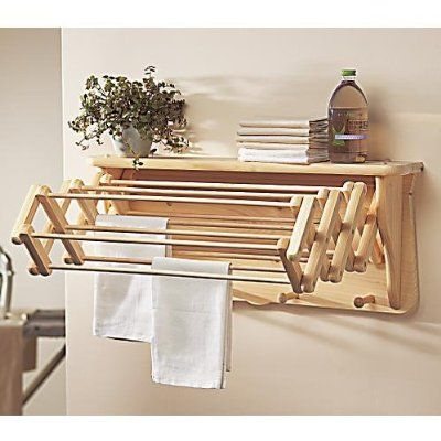 """For small laundry rooms Gaiam Natural Laundry Drying Rack, Wall Shelf, Extends to 22"""":Amazon:Home & Kitchen"""