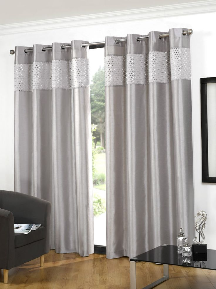 Details About New Glitz Ring Top Faux Silk Sequin Curtains
