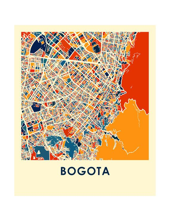 Bogota Map Print Full Color Map Poster by iLikeMaps on Etsy