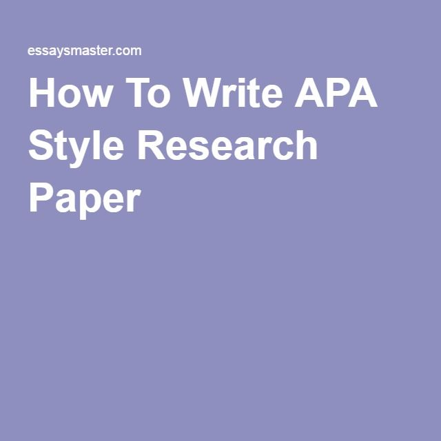 Understanding the APA Writing Style