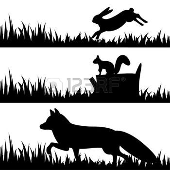 bunny silhouettes: Vector set silhouettes of animals in the grass