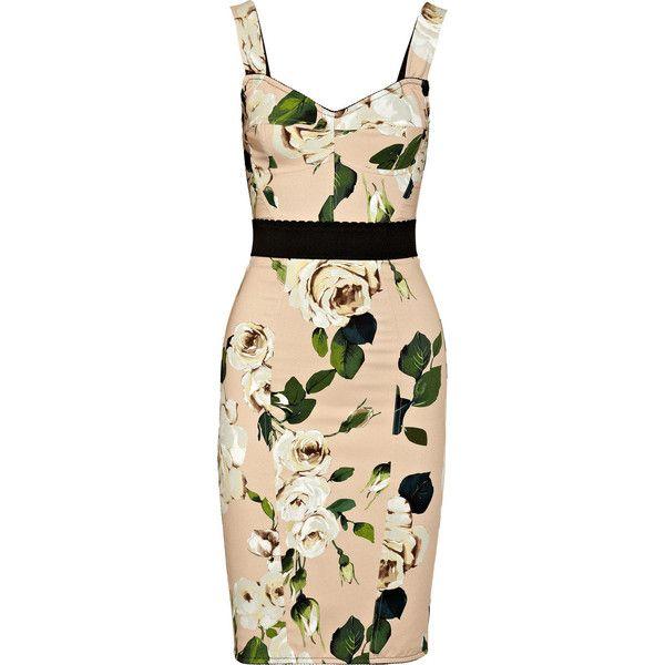 Dolce & Gabbana Rose-print crepe bustier dress ($1,645) ❤ liked on Polyvore