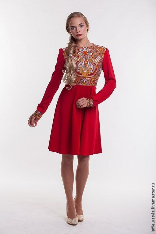 Купить Платье трикотажное с павловопосадским платком Испанский - орнамент, платье, платок, русский стиль