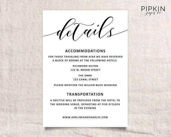 Wedding Invitations Hotel Accommodation Cards Wedding Details Template Wedding Informatio Accommodations Card Budget Friendly Honeymoons Wedding Transportation