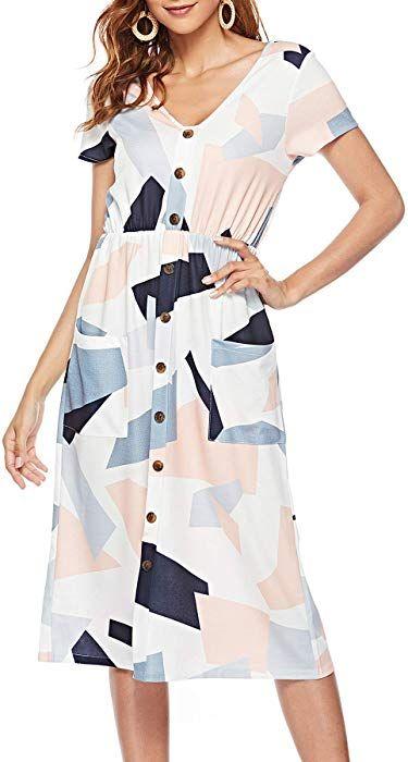 db081a6057b LovInParis Women s Short Sleeve Dresses V Neck Button Down Swing Midi Dress  Pockets at Amazon Women s Clothing store