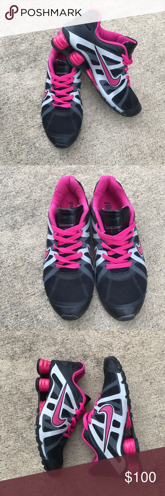 WOMEN NIKE SHOX NZ SIZE 8 HOT PK GRAY BLK NIKE WOMEN SHOX!!!  HOT PINK, BLACK & GRAY..GREAT CONDITION!!!  One time used Nike Shoes Athletic Shoes