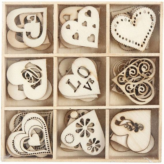 This listing is for a set of 45 pieces of assorted wooden hearts.  The possibilities are endless... ~ Wedding Decorations ~ Bridal Shower ~ Party