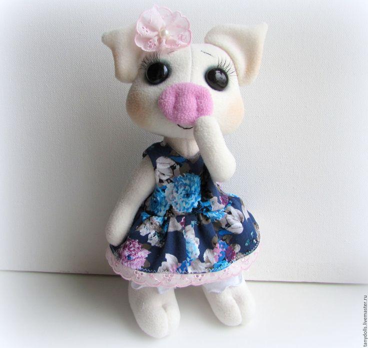 Купить текстильная игрушка Хрюша - девочка, рост - 30 см. - васильковый, мягкая игрушка хрюша