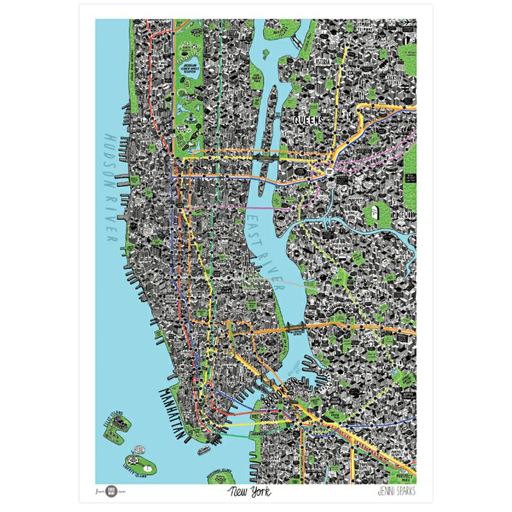 Hand Drawn Map Of New York Art