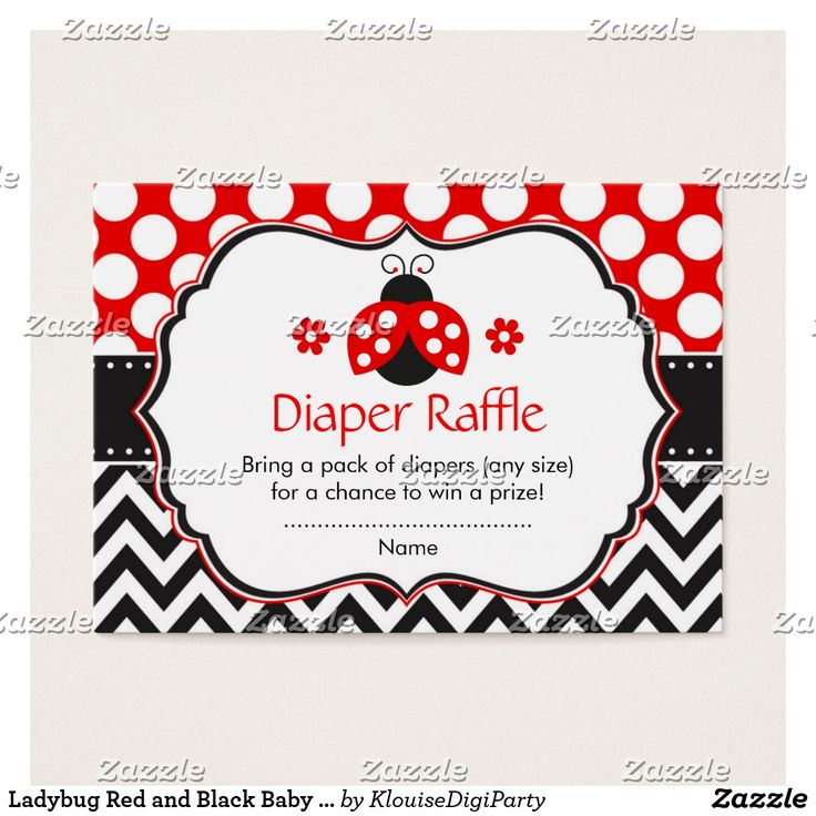Ladybug Red and Black Baby Shower Diaper Raffle Business Card