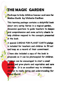 THE MAGIC  GARDENLiteracy Package around theme of MOTHER EARTH by Victoria…