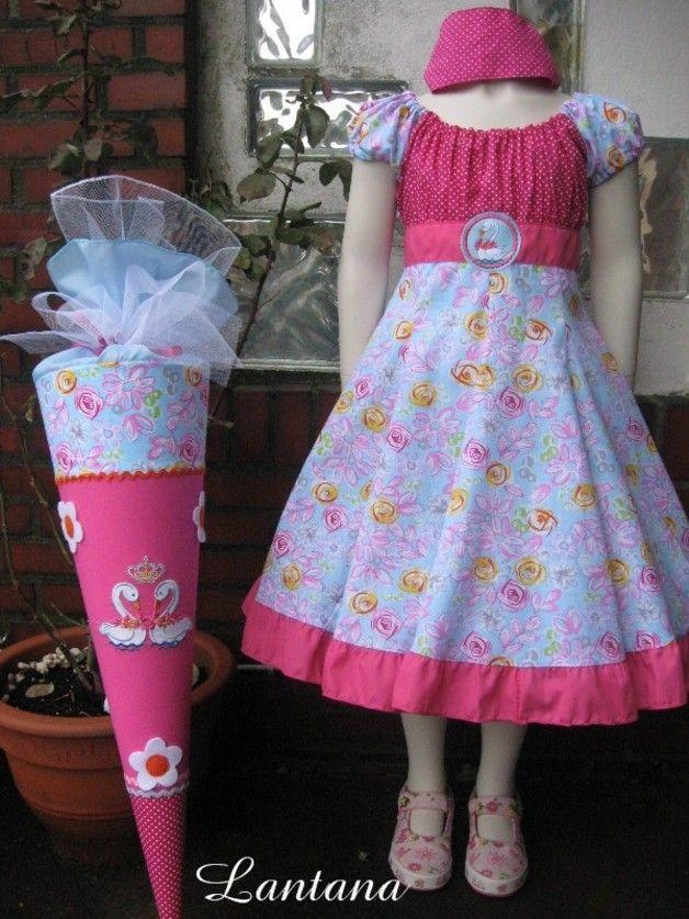 """Kleider - Einschulungskleid ELODIE """"Schwäne"""" Wu... - ein Designerstück von Lantana-Design bei DaWanda"""