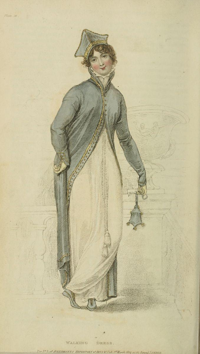 1809, Ackermann Fashion Plate, Walking Dress