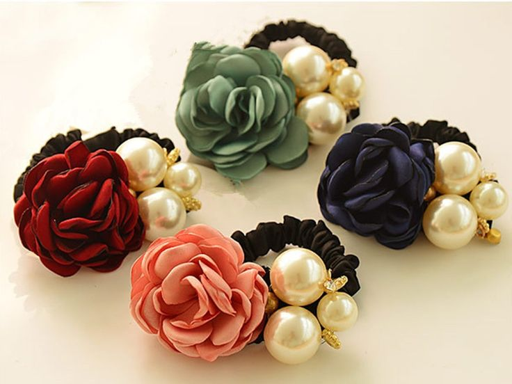 Cuhair(tm) Fashion 4pc Ponytail Holder Camellia with Big Pearl Flower Design for Girl Women Hair Elastic Tie Hair Rope Accessories *** Read more reviews of the product by visiting the link on the image.