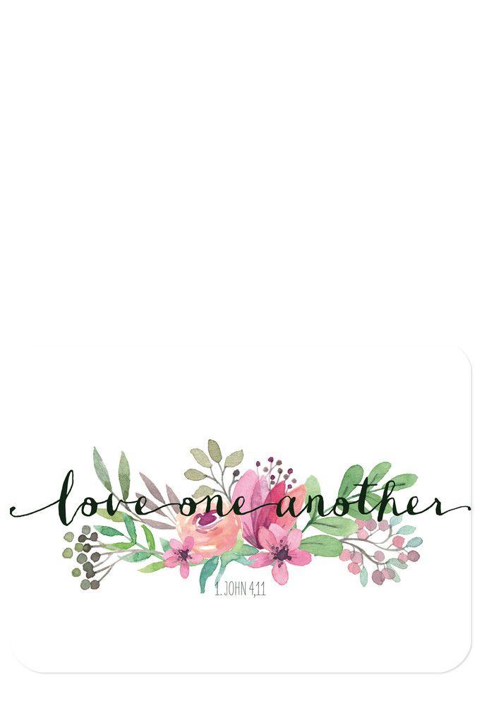 """Bibelvers auf der Postkarte: """"Liebe einander"""" – 1. Johannes 4,11 – Postkarten – Himmel im Herzen"""