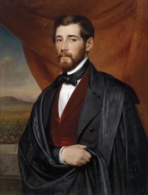 Portrait of a Gentleman, Rome 1846 by Carl von Blaas (Austrian, 1815-1894)....the Roman Campagna in the background,