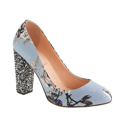 Etta glitter-heel pumps in hummingbird floral/