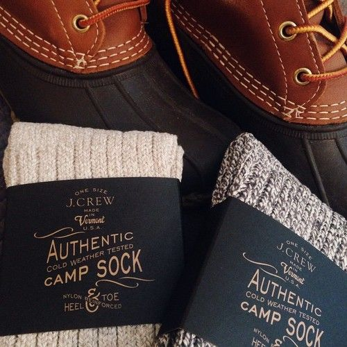 LL Bean Boots and J Crew Camp Socks